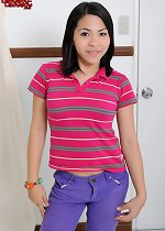 Sweet ladyboy strips and strokes