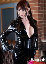 Sexy European Tranny with awesome tits and a small penis in latex and stockings