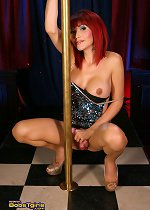 Gorgeous transsexual Eva pole dancing