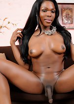 Super hot ebony TS Gabriella stripping