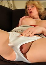 Sweet Lady with She-Cock in White Satin Panties